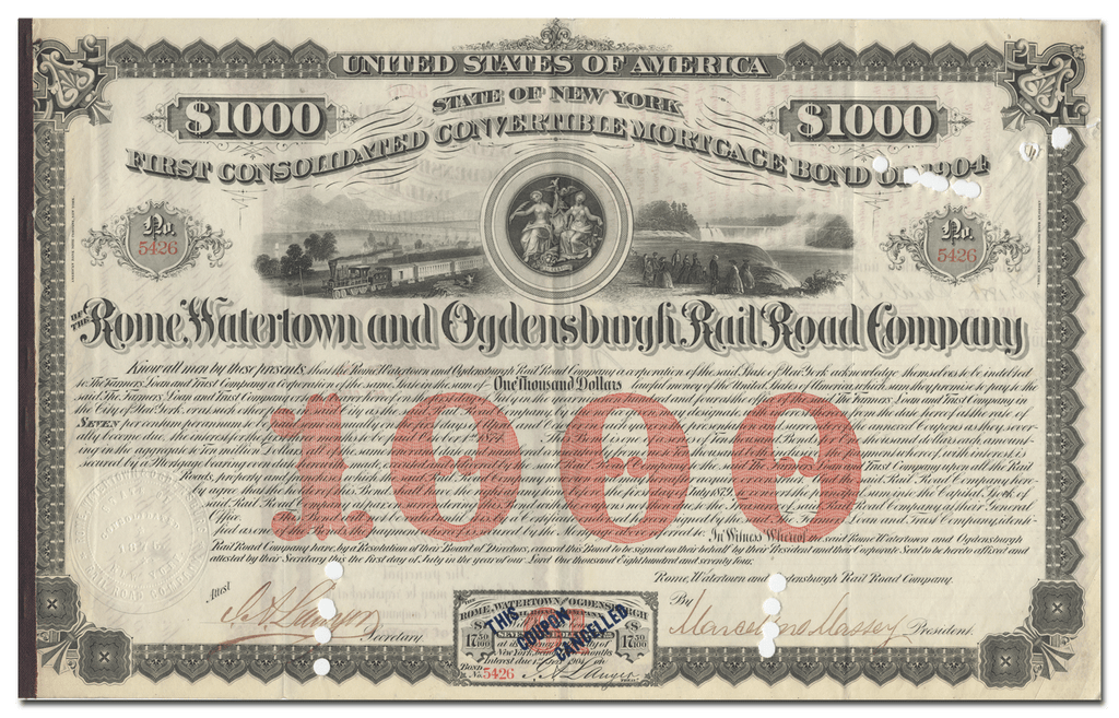 Rome, Watertown and Ogdensburgh Rail Road Company Bond Certificate