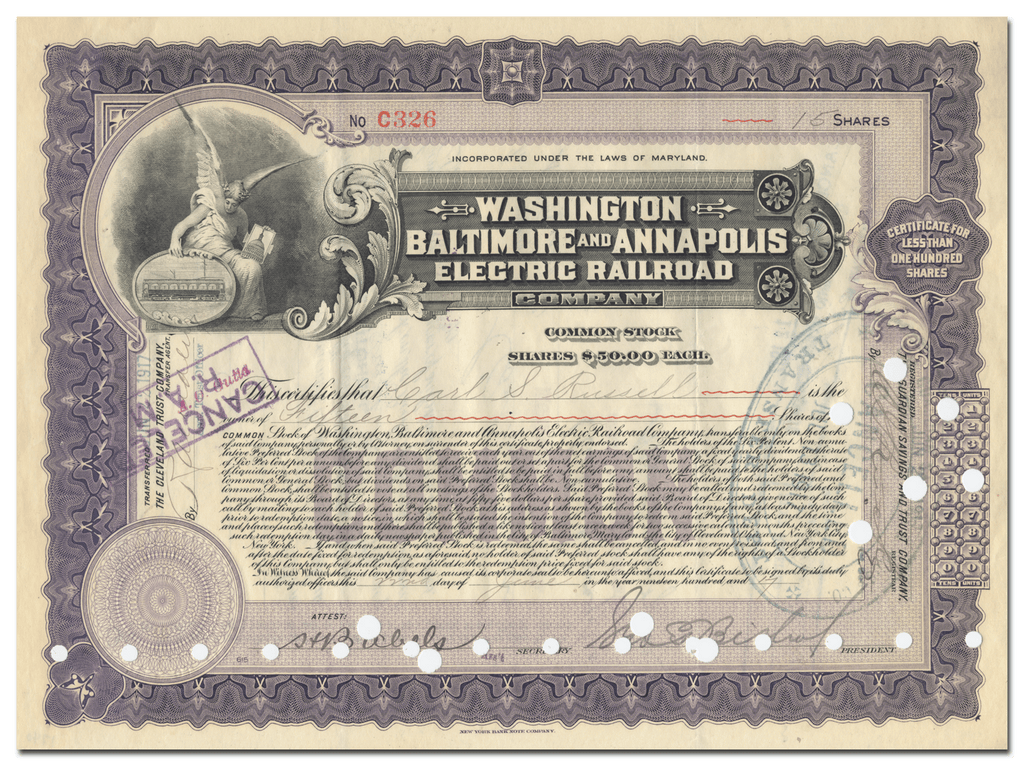 Washington, Baltimore & Annapolis Electric Railroad Company Stock Certificate Signed by George Bishop