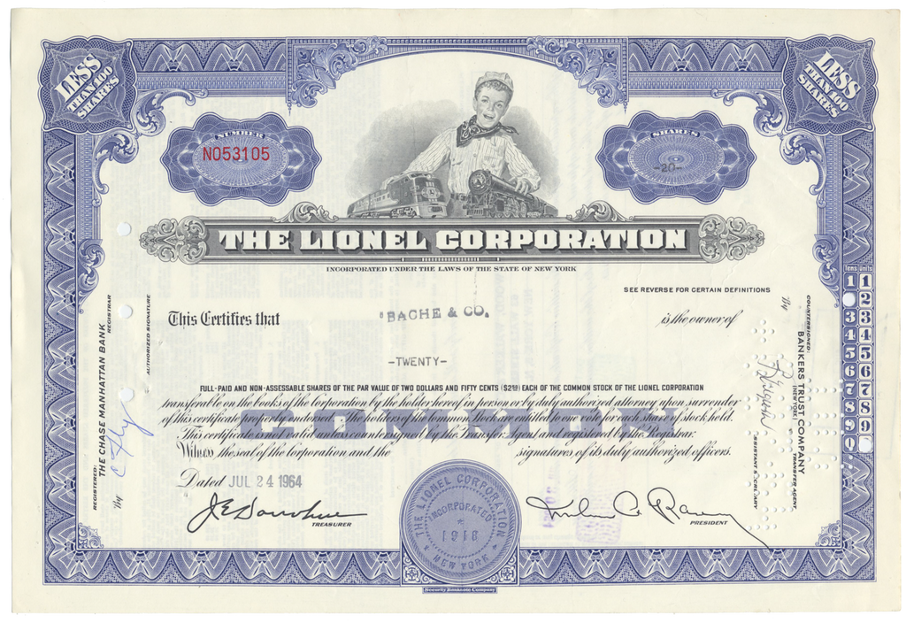 Lionel Corporation Stock Certificate