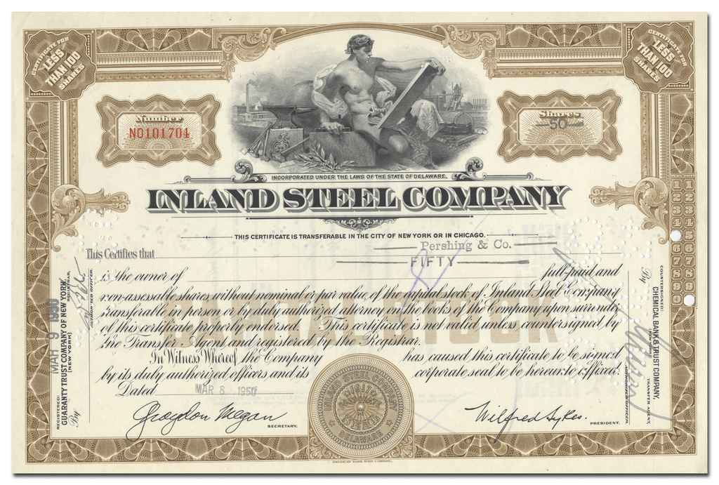 Inland Steel Company Stock Certificate