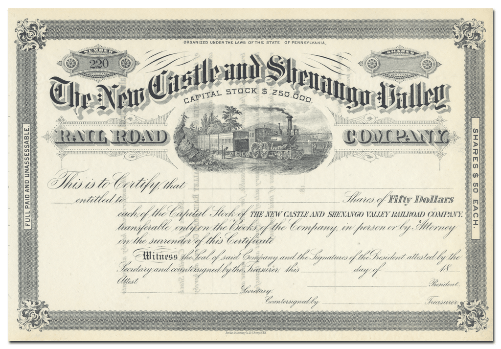 New Castle and Shenango Valley Railroad Company Stock Certificate