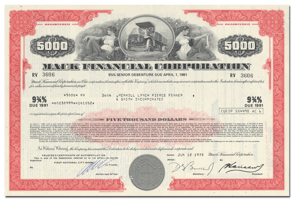 Mack Financial Corporation Bond Certificate