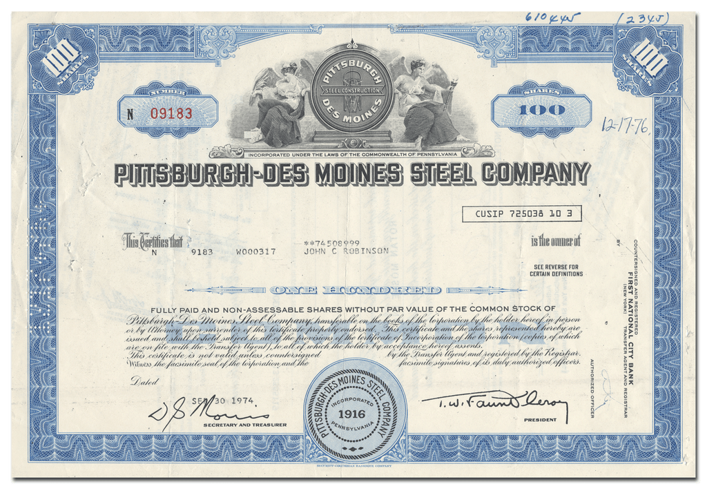 Pittsburgh-Des Moines Steel Company Stock Certificate