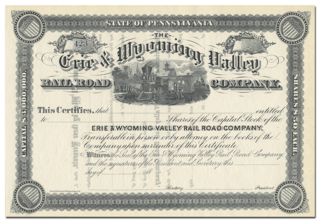 Erie & Wyoming Valley Rail Road Company Stock Certificate