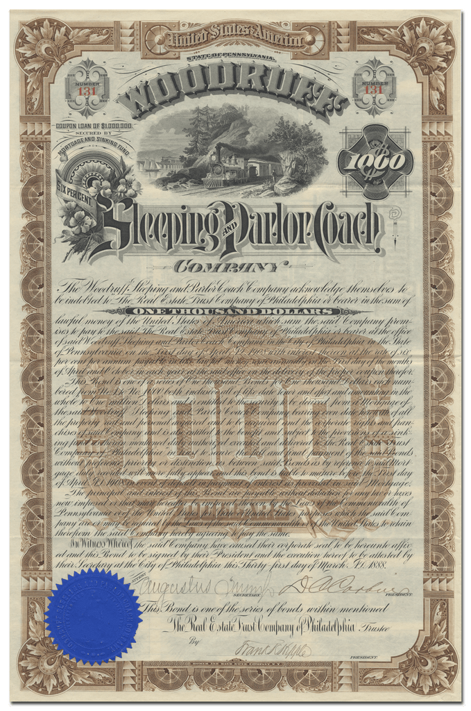 Woodruff Sleeping and Parlor Coach Company Bond Certificate Signed by Daniel Chase Corbin