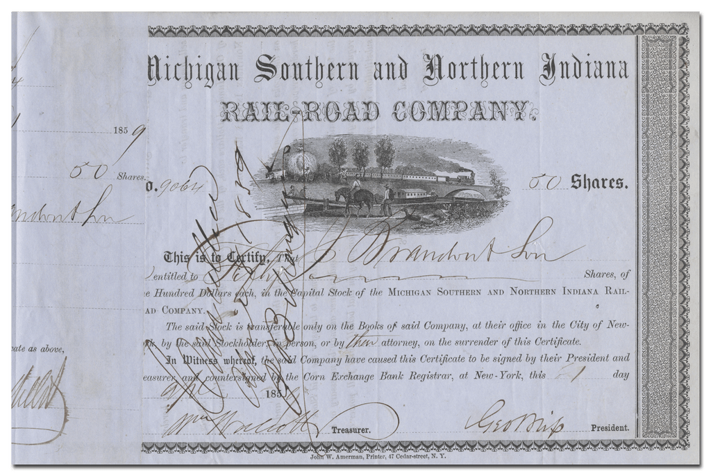 Michigan Southern and Northern Indiana Rail-Road Company Stock Certificate