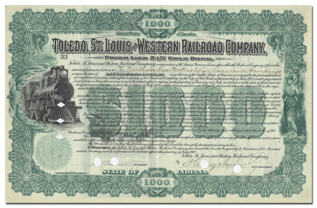 Toledo, St. Louis and Western Railroad Company Bond Certificate