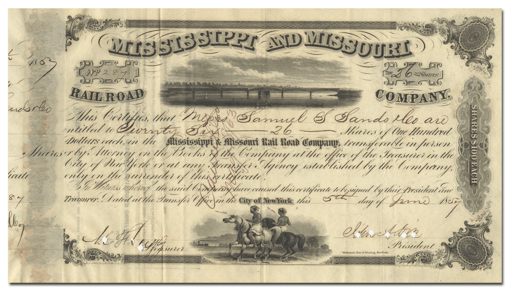 Mississippi and Missouri Rail Road Company Stock Certificate Signed by John Adams Dix
