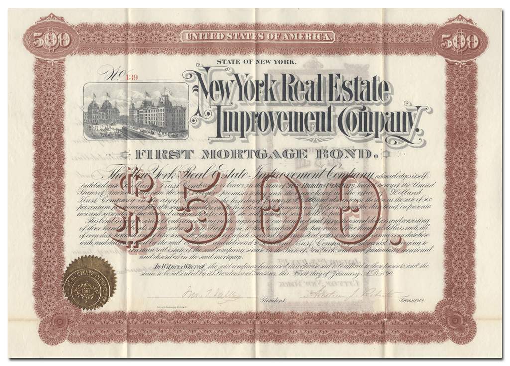 New York Real Estate Improvement Company Bond Certificate