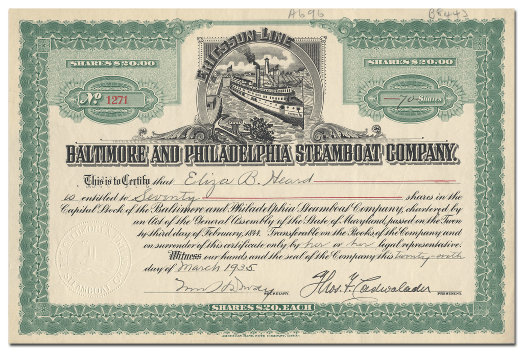 Baltimore and Philadelphia Steamboat Company Stock Certificate
