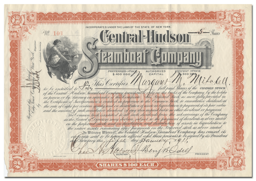 Central Hudson Steamboat Company Stock Certificate