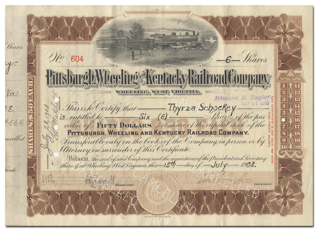 Pittsburgh, Wheeling and Kentucky Railroad Company Stock Certificate