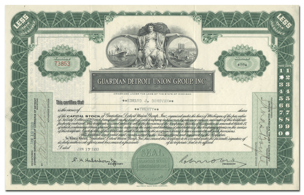 Guardian Detroit Union Group, Inc. Stock Certificate