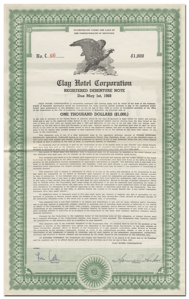 Clay Hotel Corporation Bond Certificate