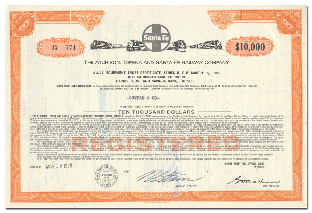 Atchison, Topeka and Santa Fe Railway Company Bond Certificate