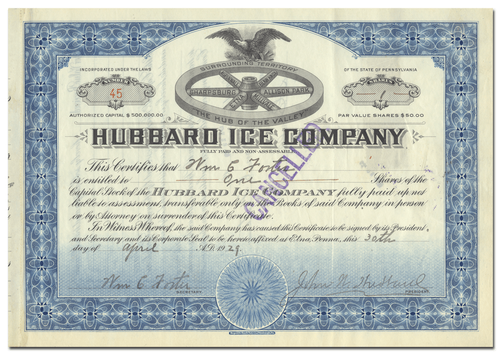 Hubbard Ice Company Stock Certificate