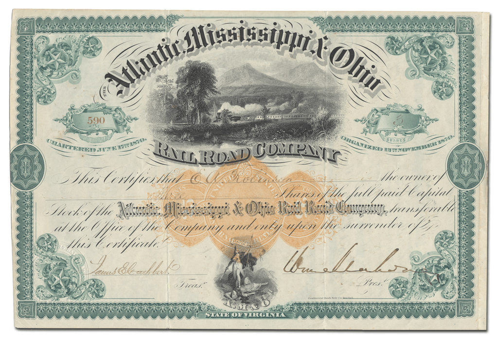 Atlantic, Mississippi & Ohio Rail Road Company Stock Certificate Signed by William Mahone