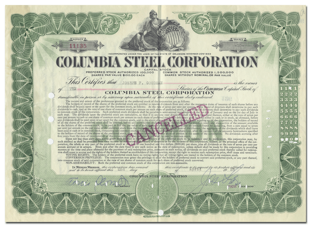 Columbia Steel  Corporation Stock Certificate