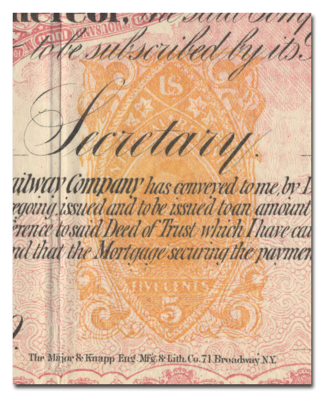 Cleveland, Columbus, Cincinnati and Indianapolis Railway Company Bond Certificate (Revenue Stamp)