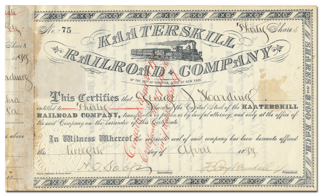 Kaaterskill Railroad Company Stock Certificate