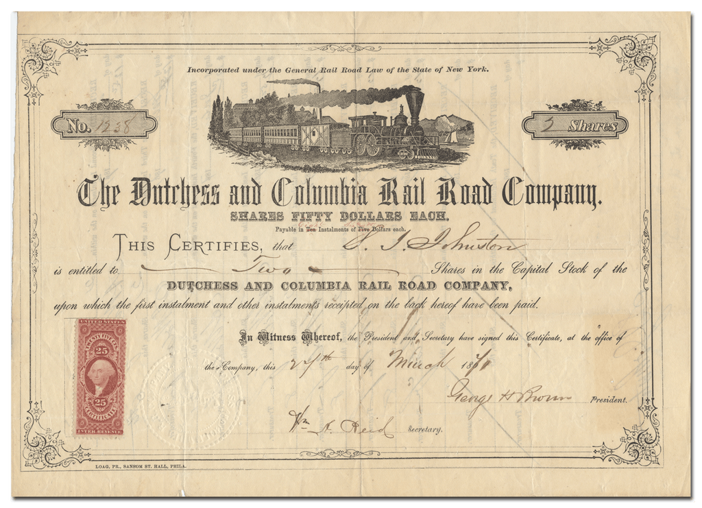 Dutchess and Columbia Rail Road Company Stock Certificate