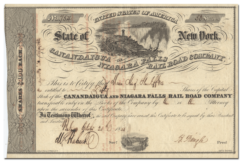 Canadaigua and Niagara Falls Rail Road Company Stock Certificate