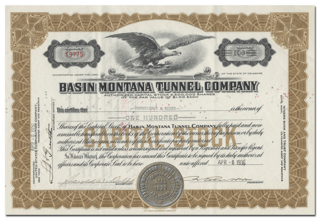 Basin Montana Tunnel Company Stock Certificate