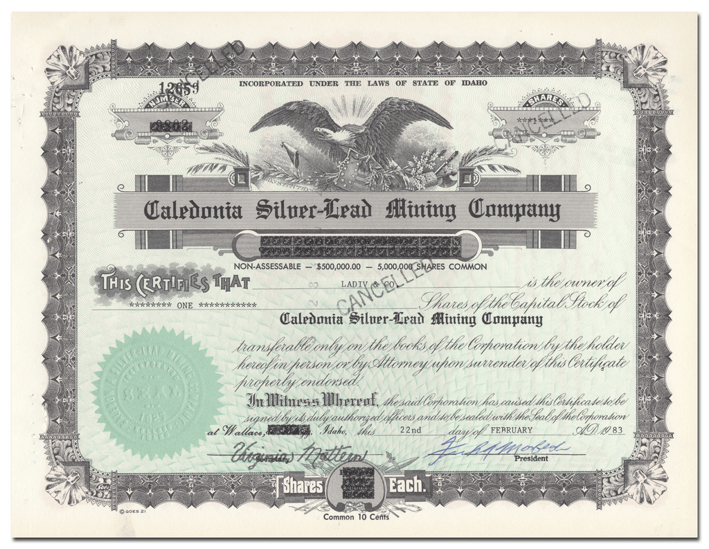 Caledonia Silver-Lead Mining Company Stock Certifcate