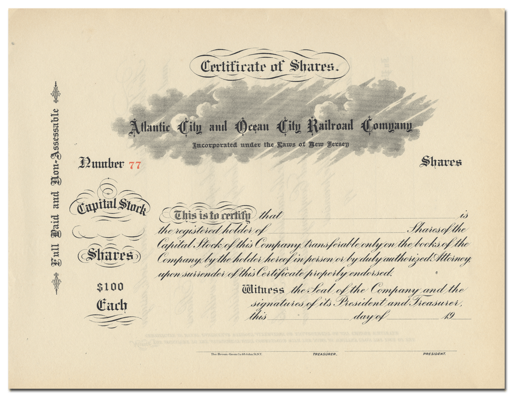 Atlantic City and Ocean City Railroad Company Stock Certificate