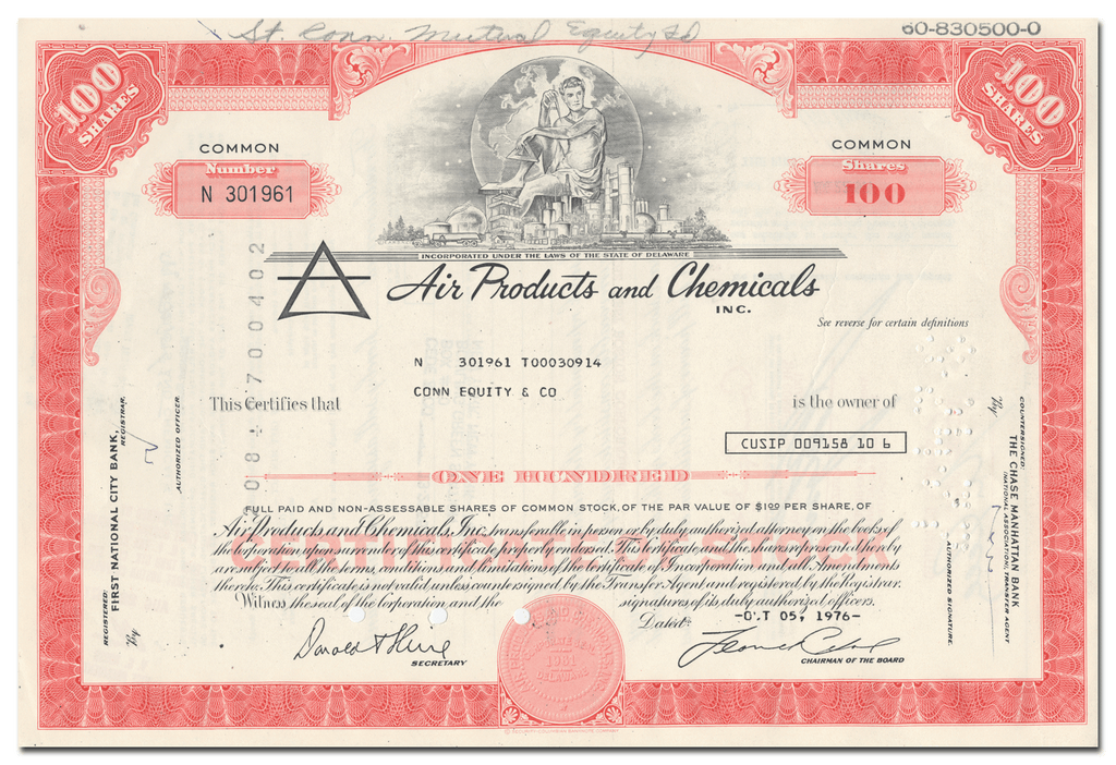 Air Products and Chemicals, Inc. Stock Certificate