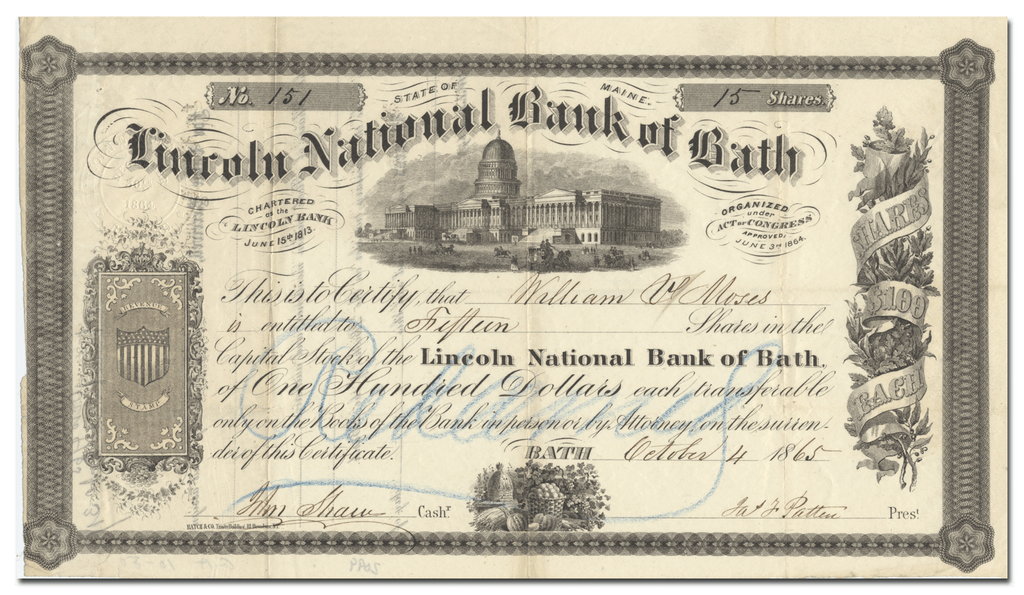 First National Bank of Bath Stock Certificate
