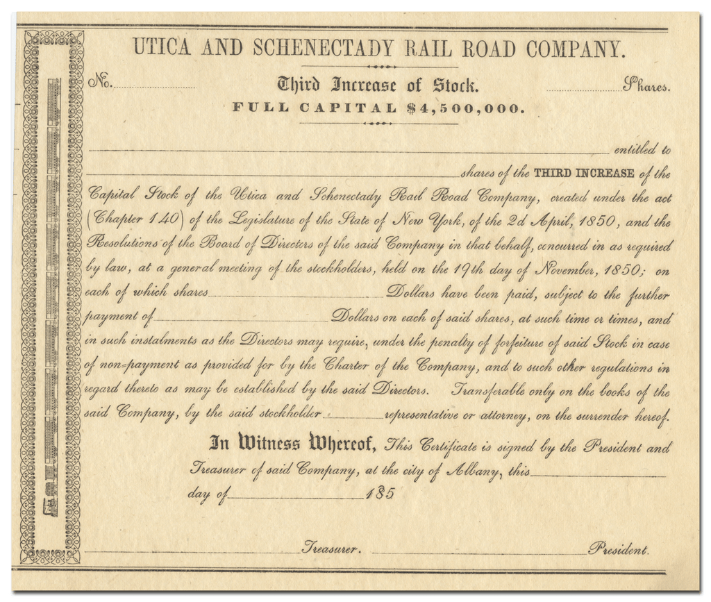 Utica and Schenectady Rail Road Company Stock Certificate