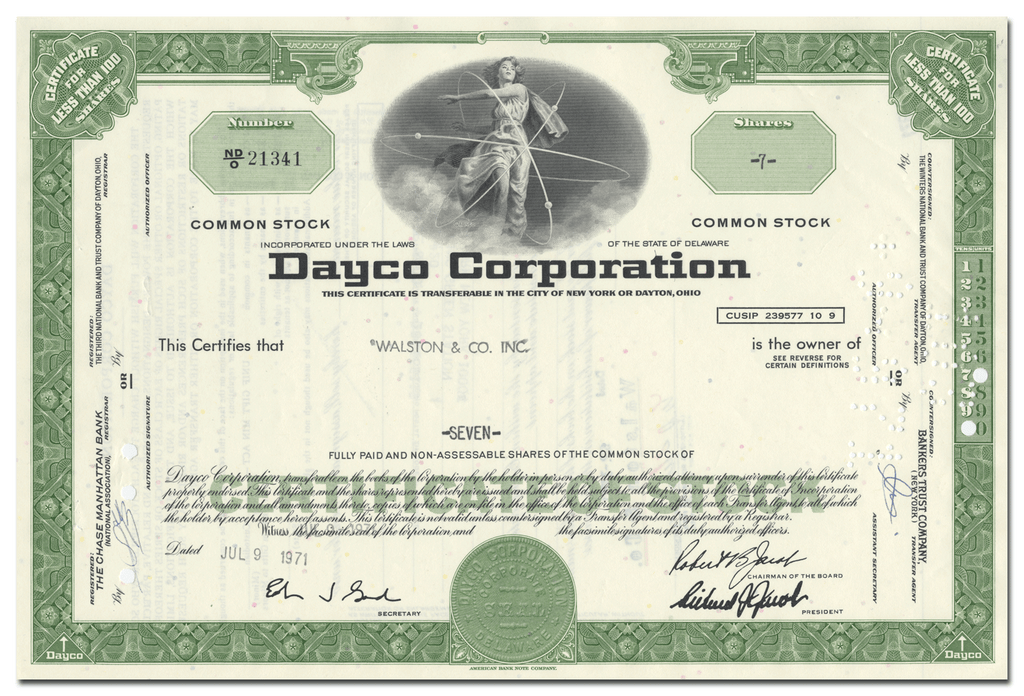 Dayco Corporation Stock Certificate