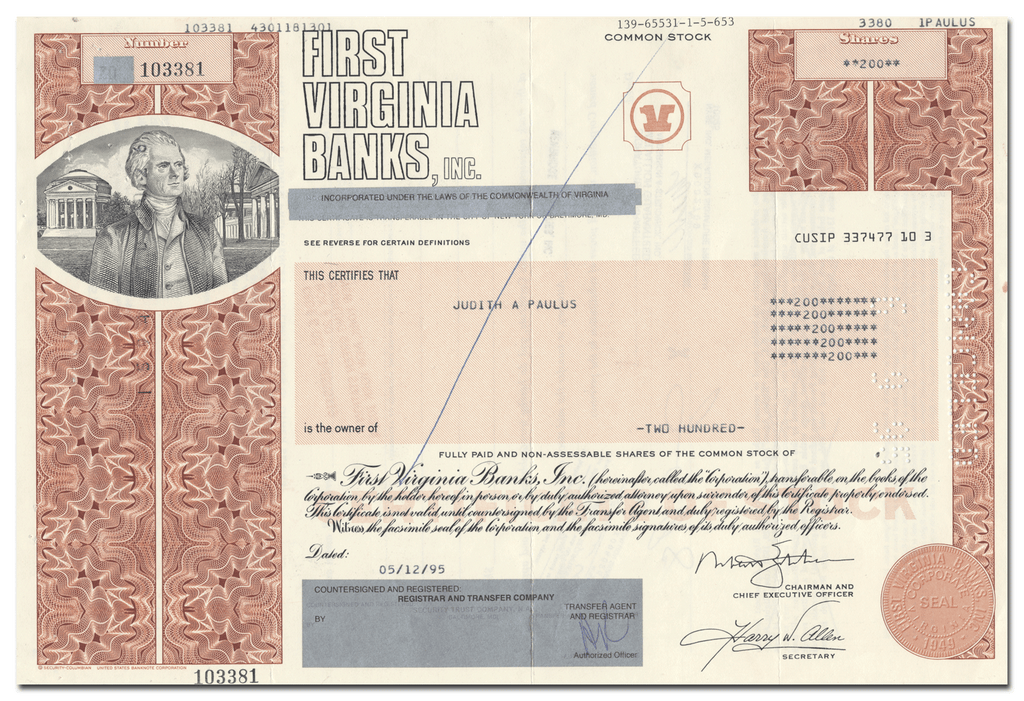 First Virginia Banks, Inc. Stock Certificate