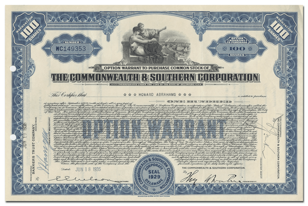 Commonwealth & Southern Corporation Stock Certificate
