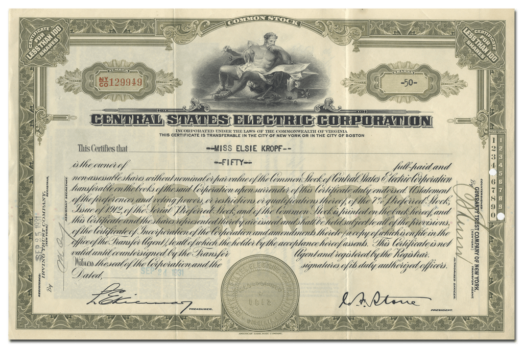 Central States Electric Corporation Stock Certificate