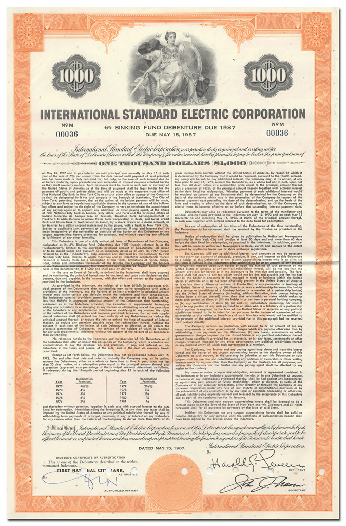 International Standard Electric Corporation Bond Certificate