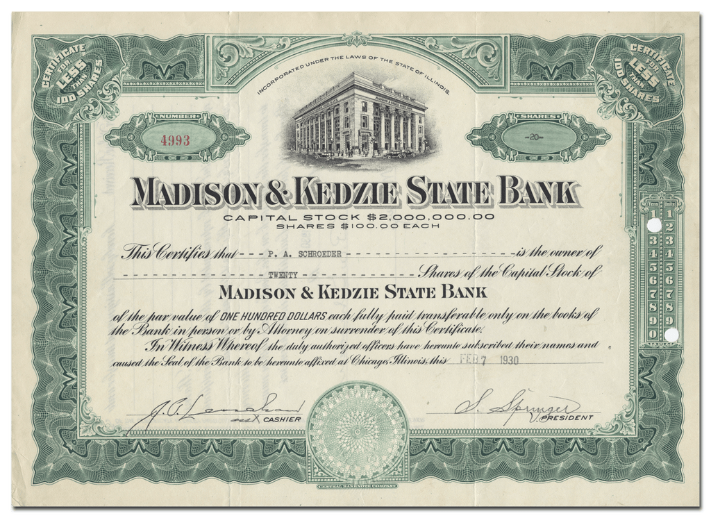 Madison & Kedzie State Bank Stock Certificate