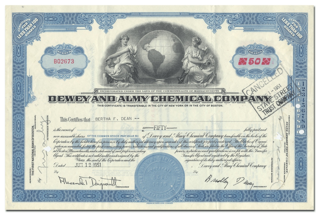 Dewey and Almy Chemical Company Stock Certificate