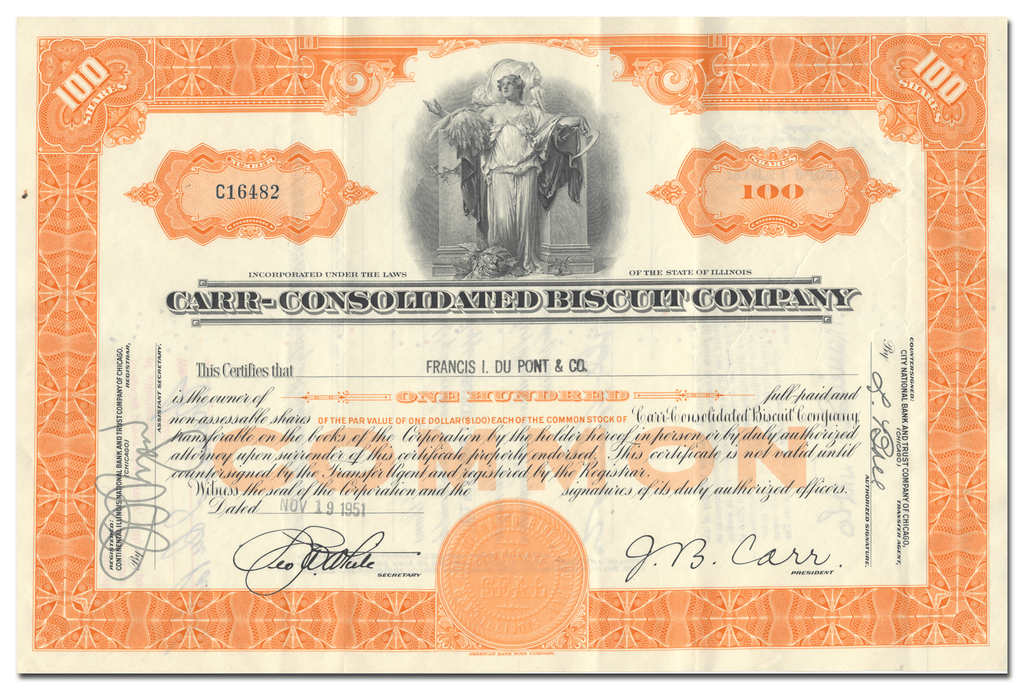 Carr-Consolidated Biscuit Company Stock Certificate