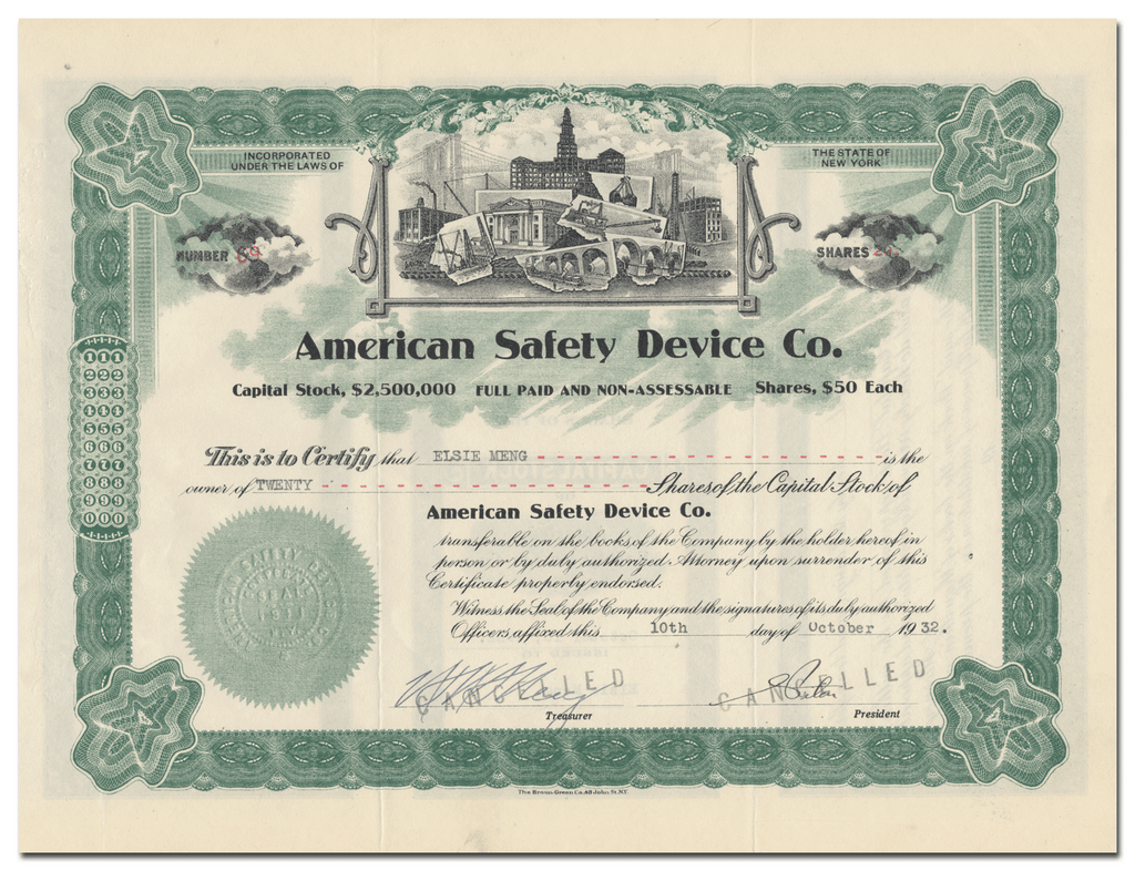 American Safety Device Co. Stock Certificate