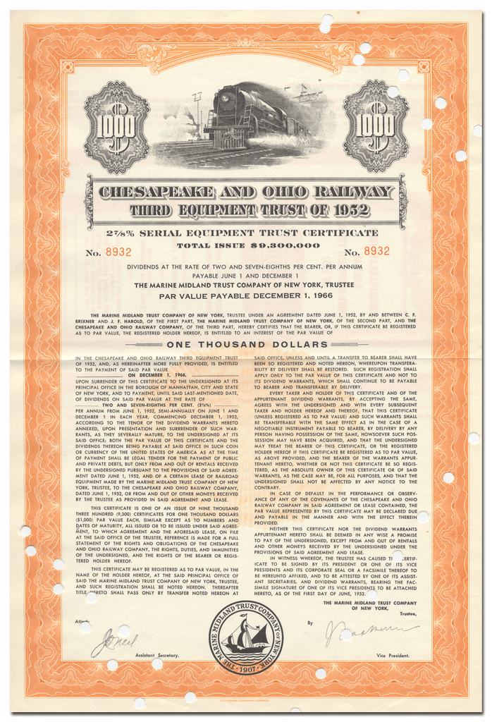 Chesapeake and Ohio Railway Company Bond Certificate