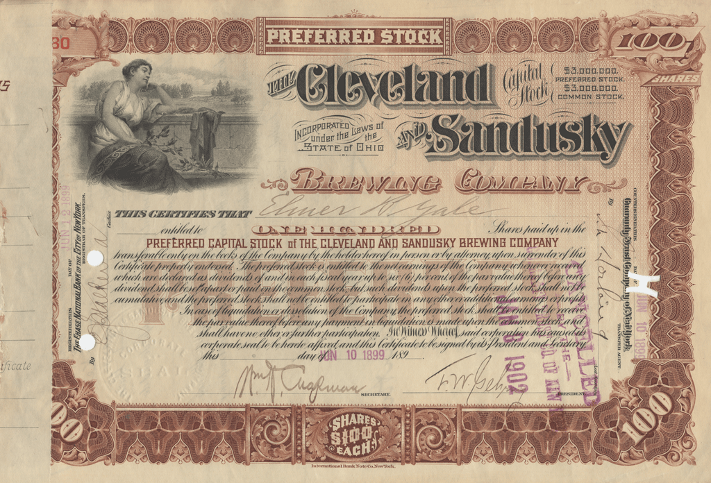 Cleveland and Sandusky Brewing Company Stock Certificate