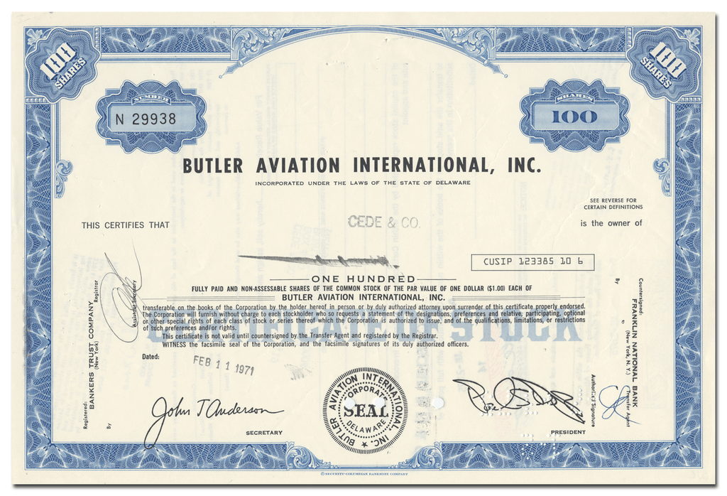 Butler Aviation International, Inc. Stock Certificate