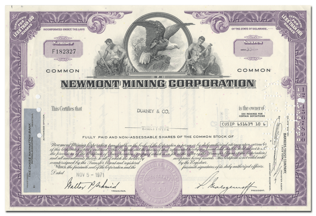Newmont Mining Corporation Stock Certificate