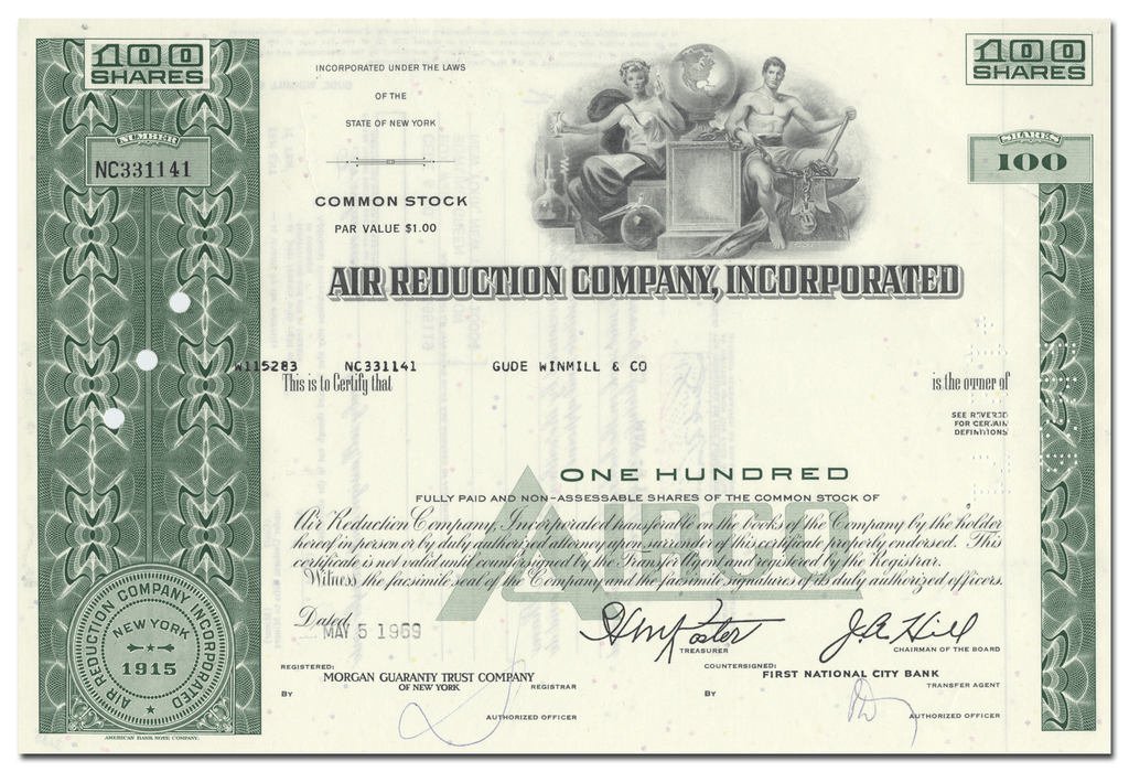 Air Reduction Company, Incorporated Stock Certificate
