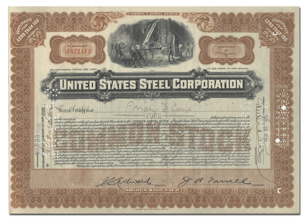 United States Steel Corporation Stock Certificate