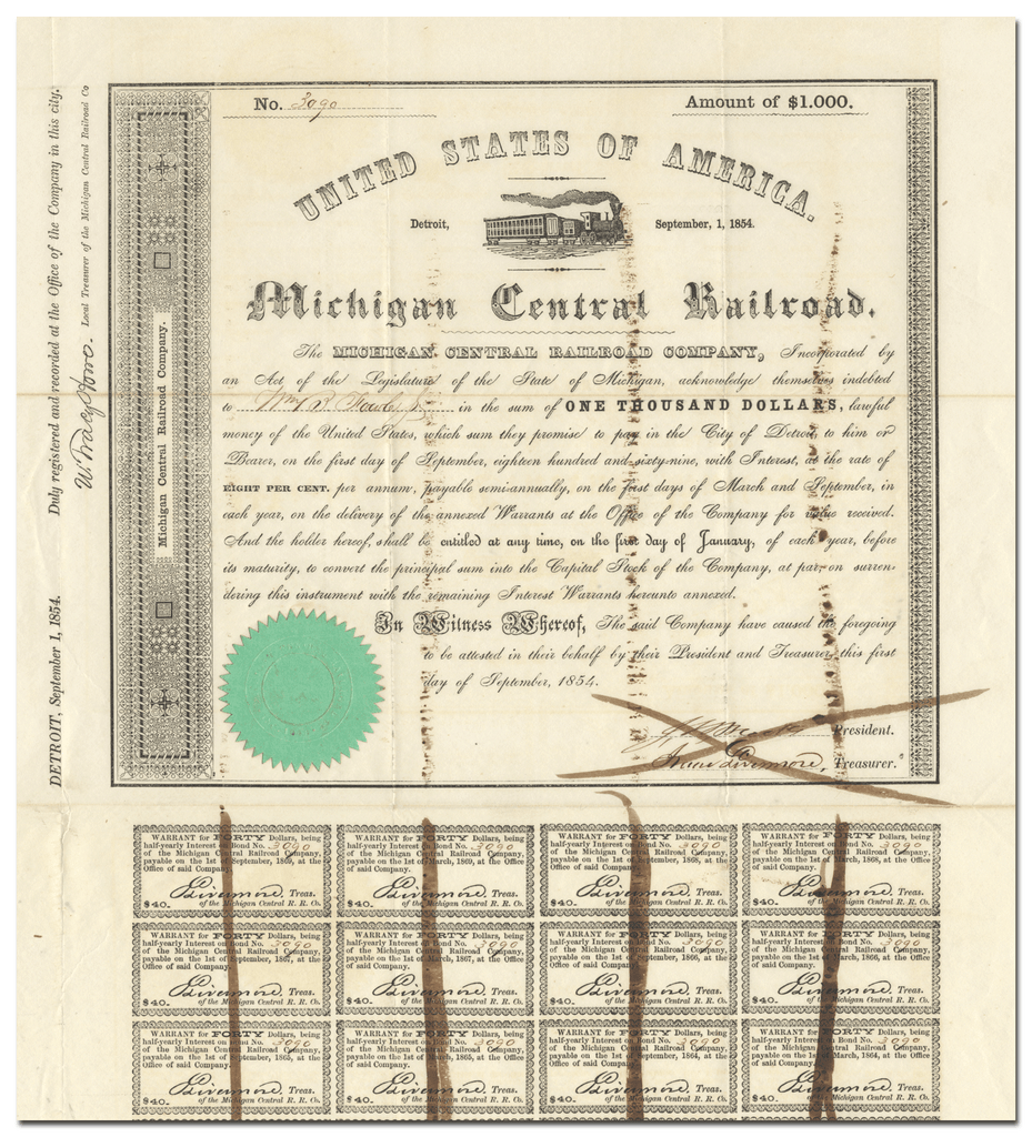Michigan Central Railroad Company Bond Certificate