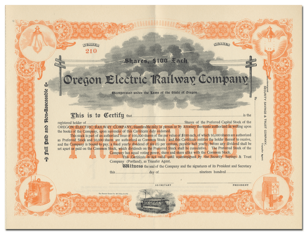 Oregon Electric Railway Company Stock Certificate