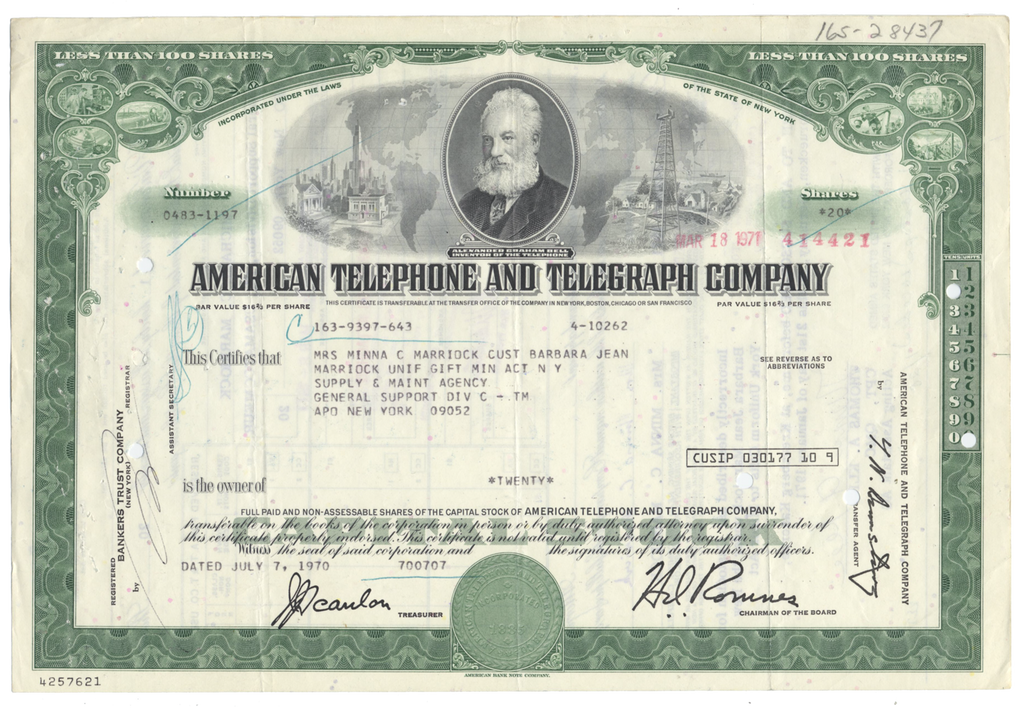 American Telephone & Telegraph Company Stock Certificate